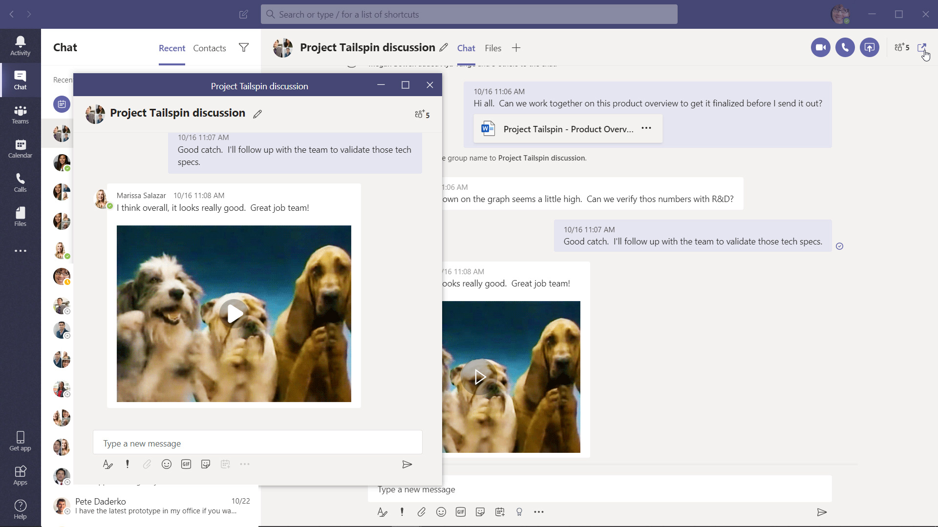 Microsoft Teams app interface